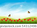 Summer nature landscape background with red 54312496