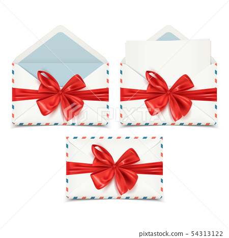 Realistic white envelopes set, open, closed, blank 54313122
