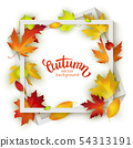 Autumn background design, realistic red and yellow 54313191