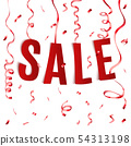 Sale paper realistic letters text with festive 54313198