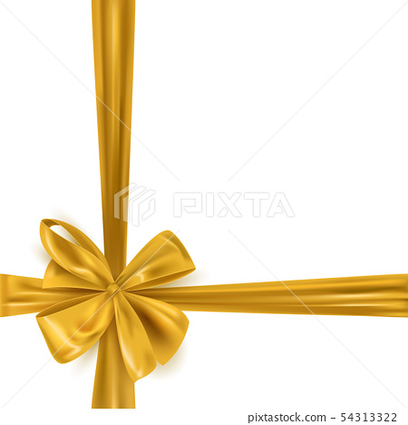 Realistic gold ribbon bow frame background 54313322