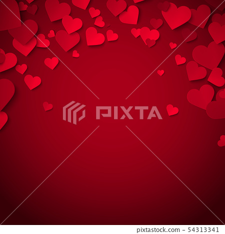 Beautiful red hearts romantic Valentine background 54313341