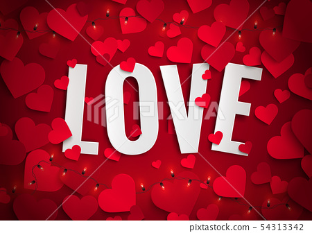 Beautiful red hearts romantic Valentine background 54313342