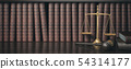 Law bookshelf with wooden judge's gavel and scale 54314177