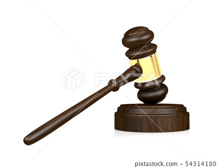 Wooden judge's gavel isolated on white background 54314180