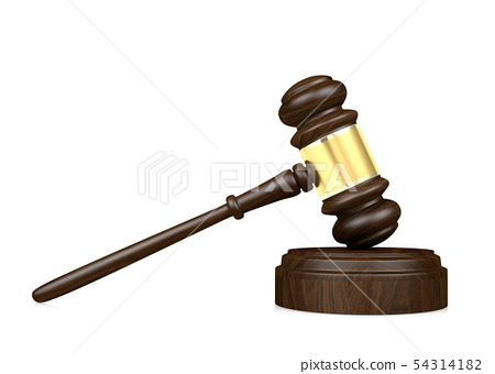 Wooden judge's gavel isolated on white background 54314182
