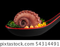 Appetizer with prepared octopus. 54314491