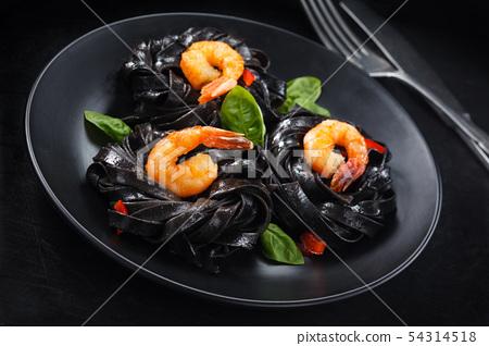 Italian food. Pasta with prawns. 54314518