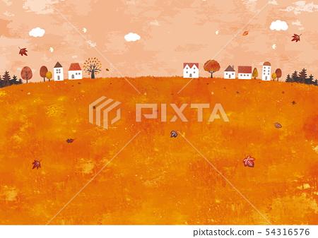 가을의 초원 풍경 유화 54316576