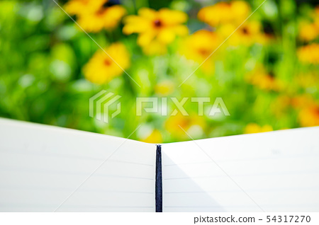Notepad and blurred yellow flower background 54317270