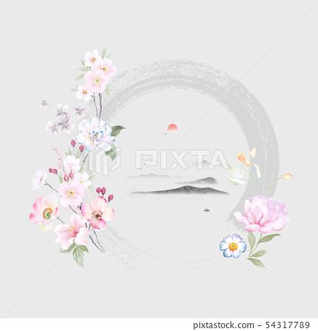 色彩豐富的水彩花卉和邀請卡設計 54317789