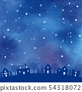 밤하늘 수채화 배경 일러스트 54318072