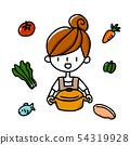 요리를하는 여성 식재 54319928