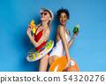 Positive multiethnic girls enjoying summer holidays fun 54320276