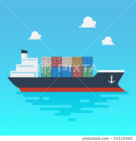 Cargo shipping with containers flat style 54320400