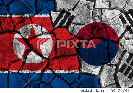 Crisis and confliction concept of South korea and 54320741