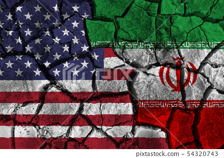 Crisis and confliction concept of america and iran 54320743