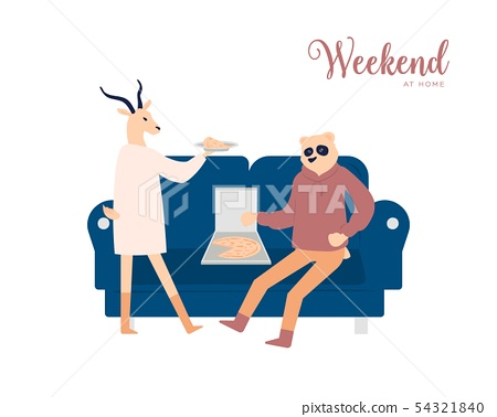 Couple having weekend at home vector poster concept 54321840