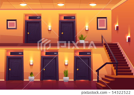 Rooms in hotel corridor and stairs on second floor 54322522