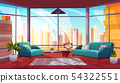 Living room with panoramic window, cozy apartment 54322551