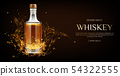 Whiskey bottle mockup, flask with strong drink 54322555