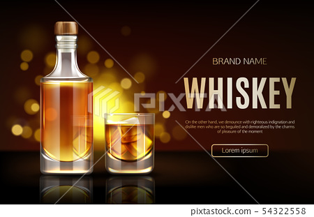 Whiskey bottle and glass mockup promo ad banner, 54322558