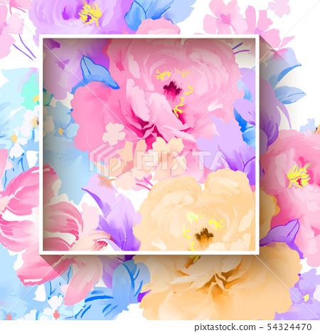 手繪優雅的五顏六色的水彩玫瑰花和牡丹花花卉 54324470