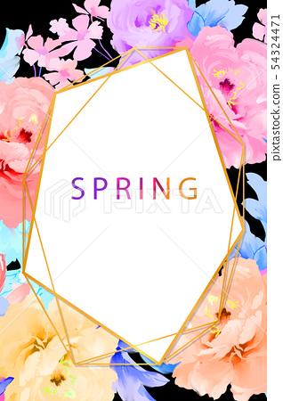 手繪優雅的五顏六色的水彩玫瑰花和牡丹花花卉 54324471