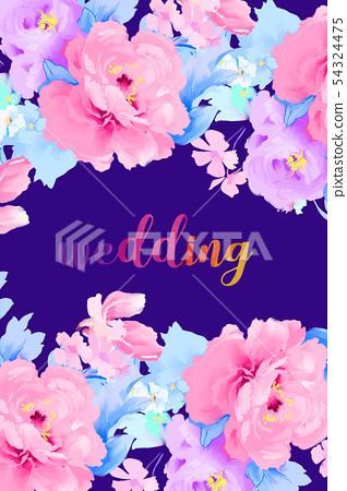 手繪優雅的五顏六色的水彩玫瑰花和牡丹花花卉 54324475