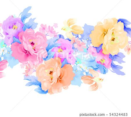 手繪優雅的五顏六色的水彩玫瑰花和牡丹花花卉 54324483