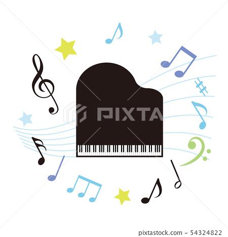 그랜드 피아노와 음표 54324822