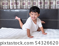 3 years old little cute Asian boy at home on the 54326620