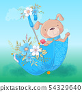 Cute cartoon dog in an umbrella with flowers, postcard print poster for a child s room. 54329640