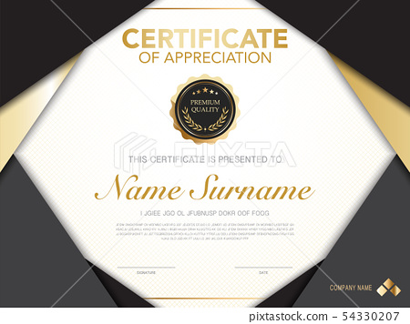 diploma certificate template black and gold color. 54330207