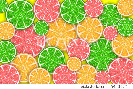colorful mixed fruits on the yellow background 54330273