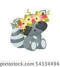 Cute cartoon raccoon. Vector illustration on white background. 54334494