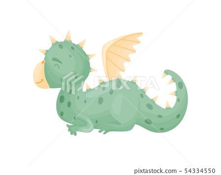 Cartoon cute green dragon is sleeping. Vector illustration on white background. 54334550