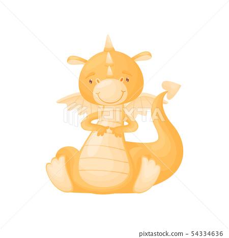 Cute orange dragon sits. Vector illustration on white background. 54334636