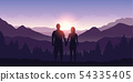 couple enjoy the mountain landscape view at sunrise 54335405