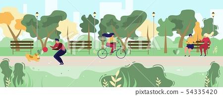 Cartoon People Walking in Flat Urban Public Park 54335420