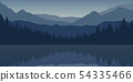 blue forest and mountain nature landscape by the lake 54335466