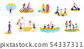 Active Women and Men Having Rest Flat Cartoon Set 54337311