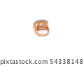 Diamond ring isolated on white background. Ring with diamonds. Yellow gold. 54338148
