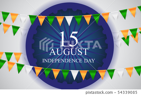 15th August India Independence Day celebration background. Vector Illustration 54339085