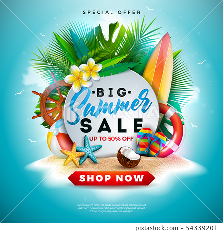 Summer Sale Design with Flower, Beach Holiday Elements and Exotic Leaves on Ocean Blue Background 54339201