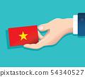 hand holding Vietnam flag card 54340527