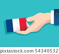 hand holding France flag card 54340532