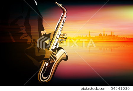 abstract music illustration with saxophone player 54341030