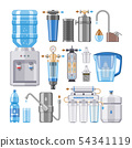 Water filter vector filtering clean drink in bottle and filtered or purified liquid illustration set 54341119