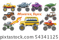 Monster truck vector cartoon vehicle or car and extreme show transport illustration set of heavy 54341125
